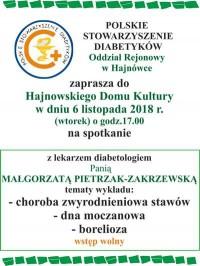 Szkoła Diabetyka – 6.11.2018